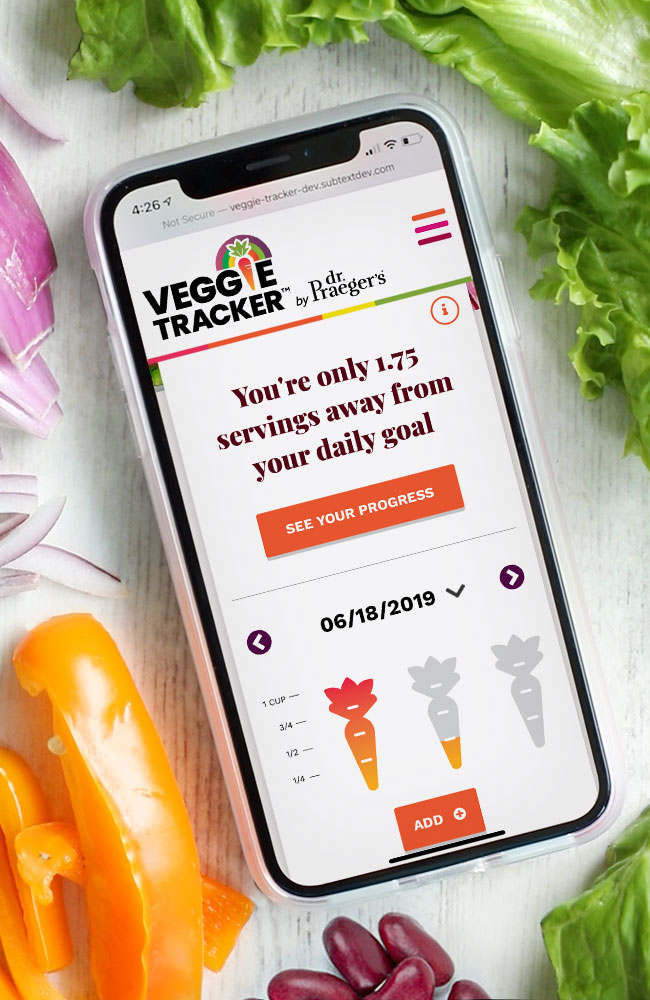Dr Praeger's Veggie Tracker Website and Promotion